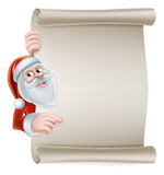 Cartoon santa scroll sign Stock Photo