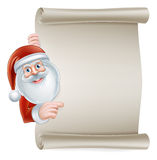 Cartoon santa scroll sign Stock Photography