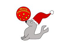 Cartoon Santa Seal With Ball Stock Photography
