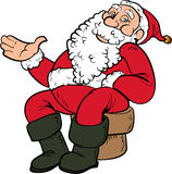 Cartoon Santa sitting on a chair. Isolated on white Stock Photos
