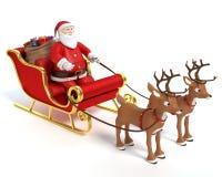 Cartoon Santa Sleigh and Reindeer. 3d illustration of a cartoon Santa sleigh and reindeer Stock Photos