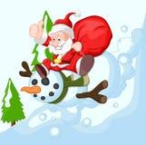 Cartoon Santa with Snowman. Conceptual Drawing Art of Cartoon Santa with Snowman Characters Vector Illustration Stock Photography