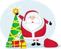 Cartoon Santa, star, Christmas tree and gifts Stock Image