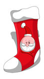 Cartoon Santa Stocking - Christmas Vector Illustration Royalty Free Stock Image