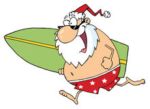 Cartoon santa surfer Royalty Free Stock Images