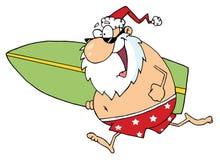 Cartoon santa surfer Royalty Free Stock Images