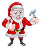 Cartoon Santa Thumbs Up and Holding Fork Stock Photos