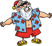 Cartoon Santa on vacation. Isolated on white Stock Photography