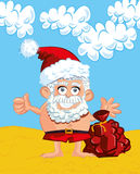 Cartoon Santa with a white beard Stock Image
