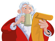 Cartoon Santa with a white beard Stock Images