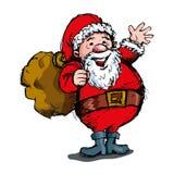 Cartoon Santa with a white beard Royalty Free Stock Photos