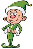 Cartoon santas elf in green Stock Photography