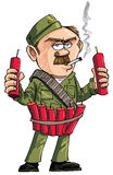 Cartoon Sapper with dynamite sticks. Royalty Free Stock Images