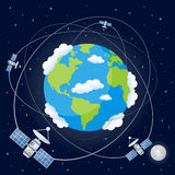 Cartoon Satellites Orbiting the Earth. Planet Earth with satellites orbiting around on a dark blue outer space background with the Moon and bright stars. Eps Stock Photo