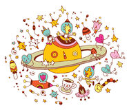 Cartoon Saturn with group of characters space cosmos. Illustration Royalty Free Stock Images
