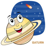Cartoon Saturn Planet Character Royalty Free Stock Images
