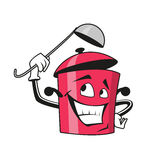 Cartoon saucepan character with ladle Royalty Free Stock Photo