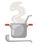 Cartoon saucepan on a white background. Kitchen utensils. soup. Cartoon saucepan on a white background. Kitchen utensils soup Stock Images