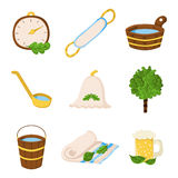 Cartoon sauna icons. Vector sauna objects in cartoon style. Spa relax concept. Bodycare and healthcare design. Set of sauna icons Stock Photos