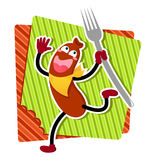 Cartoon sausage. Happy cartoon sausage running with a fork Royalty Free Stock Image
