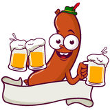 Cartoon Sausage serving beer Royalty Free Stock Photos