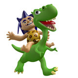 Cartoon savage boy rides on a cute dinosaur. 3D illustration. stock images