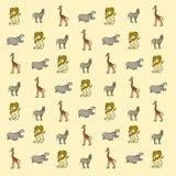 Cartoon savannah animals wallpaper. With lion, hippopotamus, giraffe and zebra vector illustration