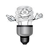 Cartoon saving light bulb character Stock Photography
