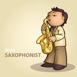 Cartoon saxophonist Stock Images