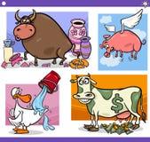 Cartoon sayings or proverbs concepts set Royalty Free Stock Image