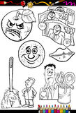 Cartoon sayings set for coloring book Stock Photo
