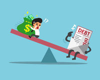 Cartoon scale between businessman and debt. For design Royalty Free Stock Photo