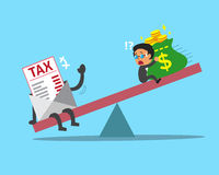 Cartoon scale between businessman and tax. For design Stock Photography