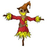 Cartoon scarecrow character. On isolated white background vector illustration