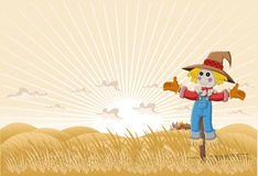 Cartoon scarecrow. Farm landscape with cartoon scarecrow Royalty Free Stock Photography