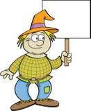 Cartoon scarecrow holding a sign. Stock Photos