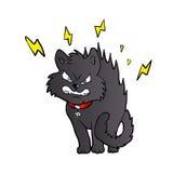 Cartoon scared black cat Stock Images