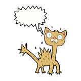 cartoon scared cat with speech bubble Stock Image