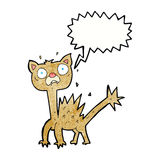 cartoon scared cat with speech bubble Royalty Free Stock Image