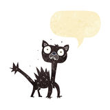 cartoon scared cat with speech bubble Stock Photos