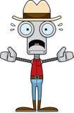 Cartoon Scared Cowboy Robot Stock Images