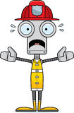 Cartoon Scared Firefighter Robot Stock Photography