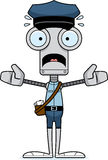 Cartoon Scared Mail Carrier Robot Stock Images