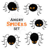 Cartoon scary black spiders set  on white background. Funny insects characters with angry faces and orange eyes. Flat Halloween elements collection for your Royalty Free Stock Photography