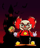 Cartoon scary evil clown Stock Image