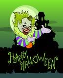 Cartoon scary evil clown. Halloween illustration of a cartoon scary evil clown Stock Photography