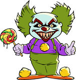 Cartoon scary evil clown. Halloween illustration of a cartoon scary evil clown Royalty Free Stock Photo
