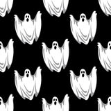 Cartoon scary ghosts in Halloween seamless pattern. Flying scary ghosts seamless pattern in cartoon style on black background suited for Halloween party decor Royalty Free Stock Image