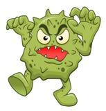 Cartoon scary microbe. Isolated on white background Stock Image