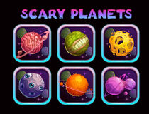 Cartoon scary planet app icons set. Vector space poster template Stock Photos